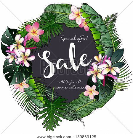 Vector flyer of summer sale. Decorated with trendy exotic plants. Hand drawn vintage art. Good for announce discount at business fashion store.