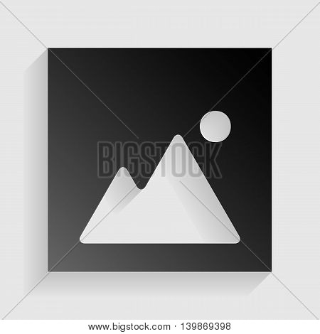Image sign illustration. Black paper with shadow on gray background.