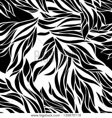 Vector seamless black and white pattern hand drawn ink for wallpaper fabric textile and others