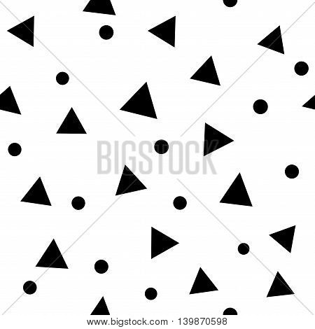Circle and triangle seamless pattern. Fashion graphic background design. Modern stylish abstract monochrome texture. Template for prints textiles wrapping wallpaper website etc VECTOR illustration