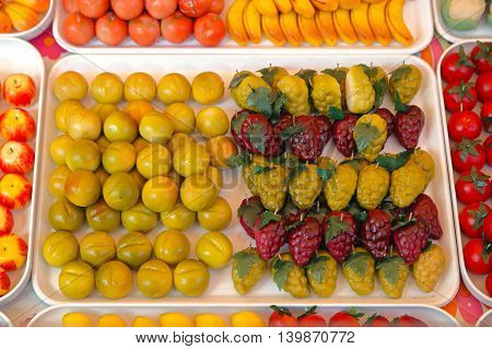 Glace Candied Fruits Sweets Variety at Market