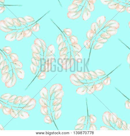 Seamless floral pattern with the abstract watercolor pink and mint branches, hand drawn on a mint background