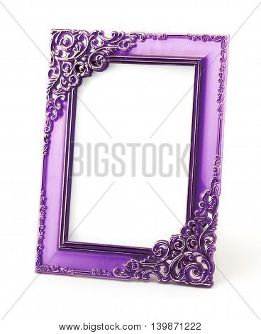 Vintage Violet Photo Frame Isolated On White