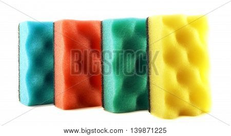 Colored Sponges For Cleaning And Washing Dishes Isolated On White