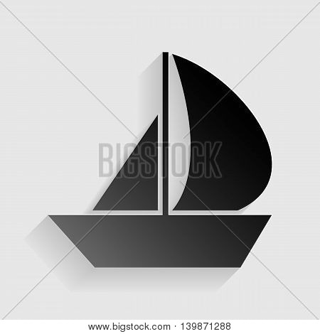 Sail Boat sign. Black paper with shadow on gray background.