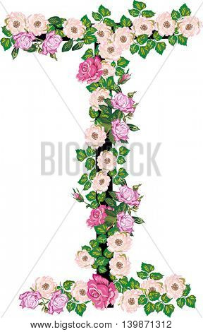 illustration with letter I from rose and brier flowers isolated on white background