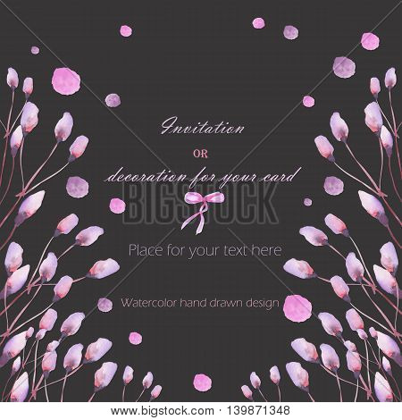 Frame, template postcard with the pink and purple flowers and branches and watercolor spots, hand drawn in a watercolor on a dark background, greeting card, decoration postcard or invitation