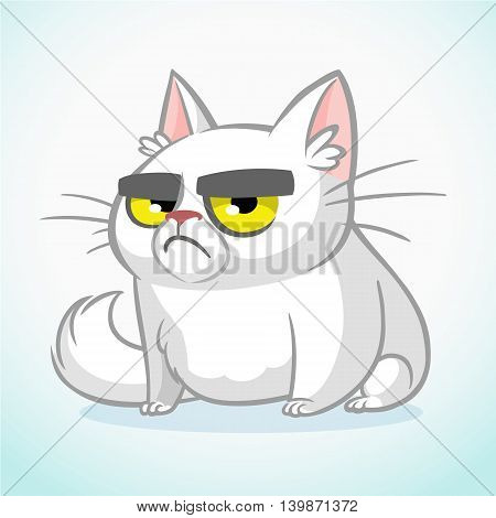 Vector illustration of grumpy white cat. Cute fat cartoon cat with a grumpy expression isolated. Cat icon