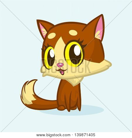 Brown cute kitty with green eyes and fluffy tail sitting. Vector cartoon cat illustration or icon
