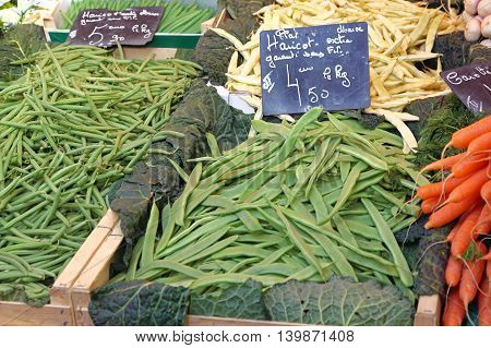 Fresh Green Beans Vegetables at Farmers Market