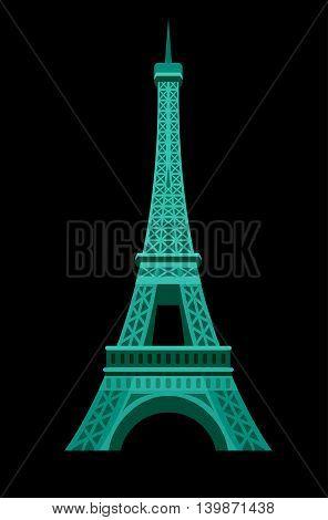 High quality, detailed most famous World landmark. An image of Paris Eiffel Tower Icon. Paris Eiffel Tower card. Travel vector