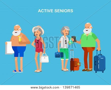 Character travelers. Old age retired tourists. Elderly couple senior having summer vacation with map and gadget, senior in swimsuits go on beach