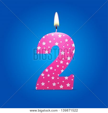 Burning candle in the form of number birthday eps10 vector illustration