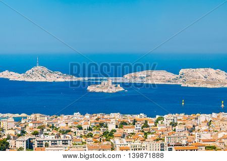 Aerial View Cityscape Of If Castle In Marseilles France. Sunny Summer Day With Bright Blue Sky.