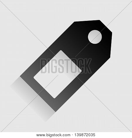 Price tag sign. Black paper with shadow on gray background.