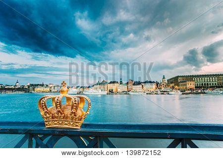 Skeppsholmsbron - Skeppsholm Bridge With Its Famous Golden Crown In Stockholm, Sweden. Scandinavia Travel