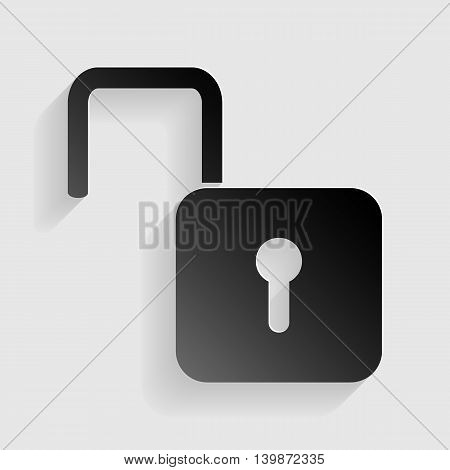 Unlock sign illustration. Black paper with shadow on gray background.