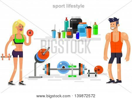 Gym design concept with Vector detailed character men and women bodybuilder. Workout with fitness equipment and sports nutrition, cool flat illustration