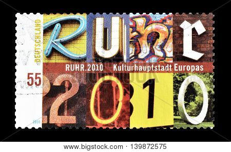 GERMANY - CIRCA 2010 : Cancelled postage stamp printed by Germany, that shows Ruhr.