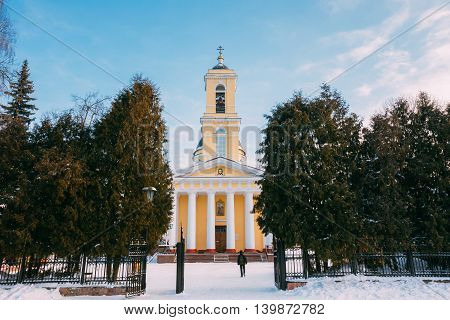 Belarussian Church Orthodox Cathedral of St. Peter and Paul in Gomel, Belarus. Winter season