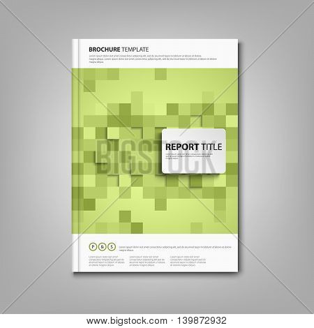 Brochures book or flyer with green square abstract mosaic vector eps 10