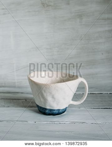 white ceramic cup with a blue stripe ceramic cup handmade