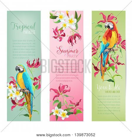 Tropical Flowers and Parrot Birds Banners and Tags - Vintage Cards - in vector