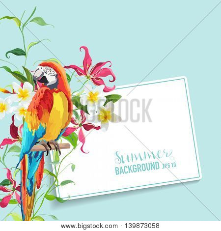 Tropical Flowers and Leaves, Parrot Bird Graphic Design. Wedding Invitation. Vector Card.