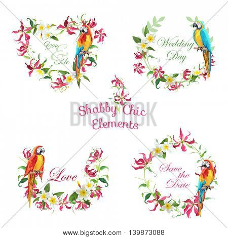 Tropical Flowers and Parrot Birds Banners and Tags - for your design and scrapbook - in vector