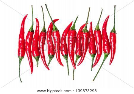 set with chili pepper on white background