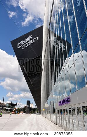 MINNEAPOLIS MN USA - JULY 15 2016: Minnesota Vikings US Bank Stadium in Minneapolis on a Sunny Day