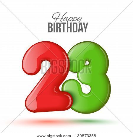 Sample greeting card to the 23 th anniversary. Air 3D red numbers from the figures. Invitation card to the party with balloons on a white background. Suitable for printing, web delivery, the jubilee