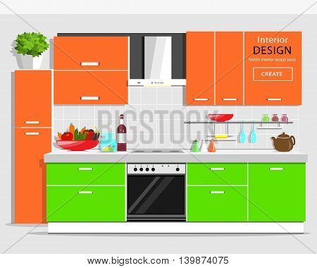 Modern graphic kitchen interior design. Colorful furniture. Flat style house appliances. Vector illustration.