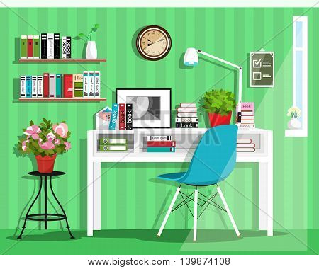 Modern graphic home office interior design. Flat style vector set: desk, chair, lamp, shelves, clock, flowerpots.