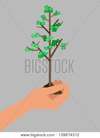 Design concept for Bank, money and investment graphic design. Hand holds profit money