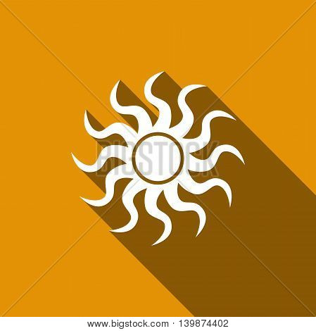 Sun-sign icon with long shadow. Adobe illustrator