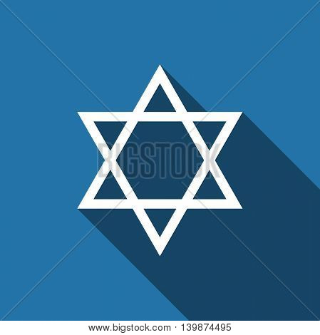 Star of David icon with long shadow. Adobe illustrator