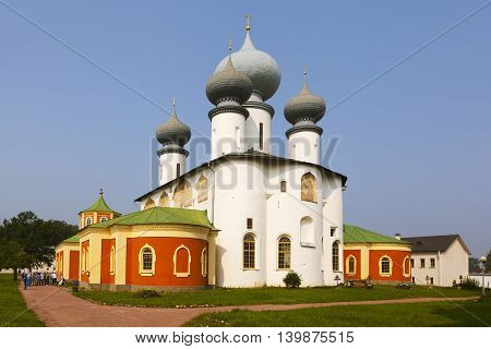 Tikhvin, Tikhvin Theotokos Assumption monastery. Evening view of the Cathedral of the Assumption. Russia.