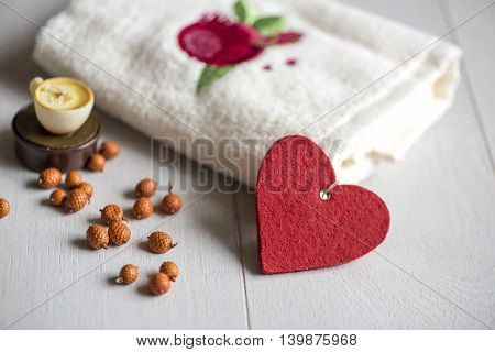 White Towel With Pomegranate On The Table