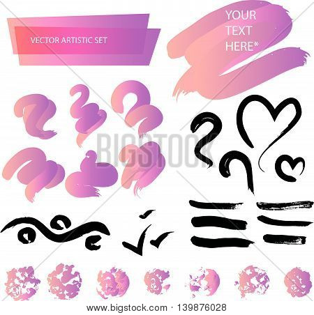 Vector artistic backdrop set isolated on white background. Art colorful design stroke collection. Abstract gradient backdrop sketch for lettering, card, banner, greetings, congratulation, celebration.