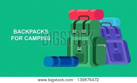Hiking and camping object. Backpacks hike. Vector flat illustration.