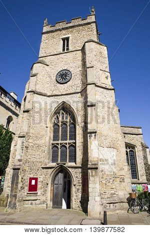 The tower of St. Botolph's church in Cambridge UK.