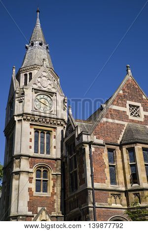 A view of the beautiful architecture which houses the Library at Pembroke College in Cambridge UK.