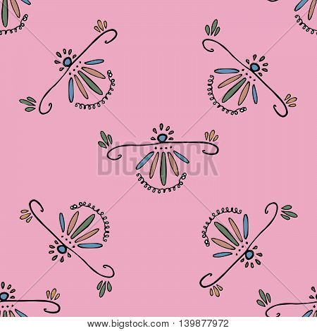 Colorful ornaments in the folk style on pink background. Vector eps 10. Hand drawn graphics, curly lines. For fabric, prints, designs.