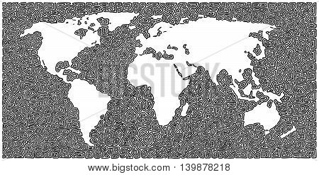 Hand drawn world map with a kind of abstract form