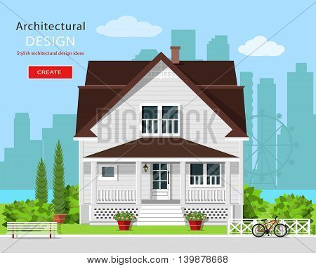 Modern graphic architectural design. Cute house with yard, bench, flowers and city background. Flat style vector illustration.