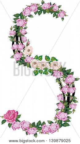 illustration with letter S from rose and brier flowers isolated on white background