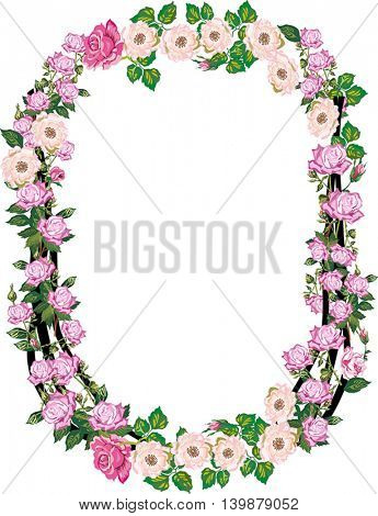 illustration with letter O from rose and brier flowers isolated on white background