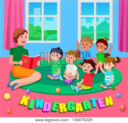 Cute vector character child. Vector for Education and kid development. Banner for the kindergarten or children club