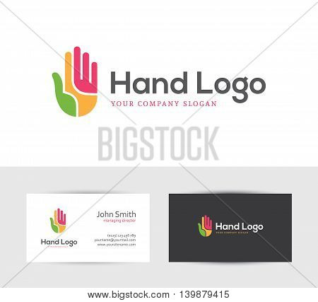 Abstract colorful hand icon and two business card design templates. Can be used as logo for your creative company concept